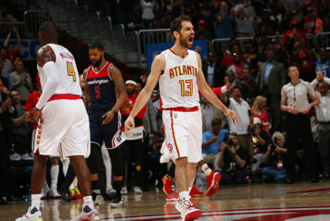 ATLANTA, GA - APRIL 24:  Jose Calderon #13 of the Atlanta Hawks celebrates during Game Four of the Eastern Conference Quarterfinals of the 2017 NBA Playoffs on April 24, 2017 at Philips Arena in Atlanta, Georgia. NOTE TO USER: User expressly acknowledges and agrees that, by downloading and/or using this photograph, user is consenting to the terms and conditions of the Getty Images License Agreement. Mandatory Copyright Notice: Copyright 2017 NBAE (Photo by Kevin Liles/NBAE via Getty Images)