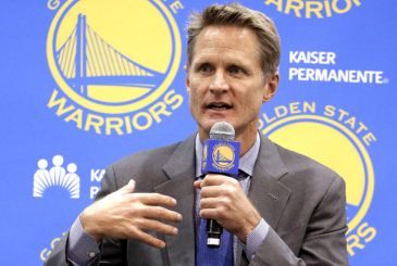 Golden State Warriors coach Steve Kerr gestures during a news conference Tuesday, May 20, 2014, in Oakland, Calif. The Warriors introduced Kerr as their new coach Tuesday at the team's downtown Oakland headquarters. Kerr's contract is for five years and about $25 million. (AP Photo/Ben Margot)