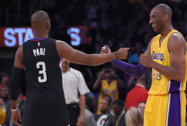 Los Angeles Clippers guard Chris Paul, left, and Los Angeles Lakers forward Kobe Bryant greet each other prior to an NBA basketball game, Wednesday, April 6, 2016, in Los Angeles. (AP Photo/Mark J. Terrill) ORG XMIT: LAS107