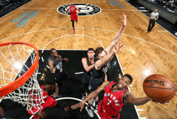 BROOKLYN, NY - FEBRUARY 5: Kyle Lowry #7 of the Toronto Raptors goes for the lay up during the game against the Brooklyn Nets on February 5, 2017 at Barclays Center in Brooklyn, New York. NOTE TO USER: User expressly acknowledges and agrees that, by downloading and or using this Photograph, user is consenting to the terms and conditions of the Getty Images License Agreement. Mandatory Copyright Notice: Copyright 2017 NBAE (Photo by Nathaniel S. Butler/NBAE via Getty Images)