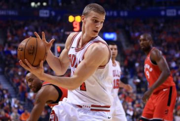 TORONTO, ON - OCTOBER 19:  Lauri Markkanen #24 of the Chicago Bulls dribbles the ball during the first half of an NBA game against the Toronto Raptors at Air Canada Centre on October 19, 2017 in Toronto, Canada.  NOTE TO USER: User expressly acknowledges and agrees that, by downloading and or using this photograph, User is consenting to the terms and conditions of the Getty Images License Agreement.  (Photo by Vaughn Ridley/Getty Images)