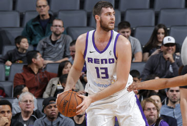 SACRAMENTO, CA - JANUARY 7:  Georgios Papagiannis #13 of the Reno Bighorns handles the ball against the Salt Lake City Stars on January 7, 2018 at Golden 1 Center in Sacramento, California. NOTE TO USER: User expressly acknowledges and agrees that, by downloading and or using this Photograph, user is consenting to the terms and conditions of the Getty Images License Agreement. Mandatory Copyright Notice: Copyright 2018 NBAE (Photo by Rocky Widner/NBAE via Getty Images)