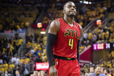 CLEVELAND, OH - MAY 4: Paul Millsap #4 of the Atlanta Hawks reacts after a play during the first half of the NBA Eastern Conference semifinals against the Cleveland Cavaliers at Quicken Loans Arena on May 4, 2016 in Cleveland, Ohio. NOTE TO USER: User expressly acknowledges and agrees that, by downloading and or using this photograph, User is consenting to the terms and conditions of the Getty Images License Agreement. (Photo by Jason Miller/Getty Images)