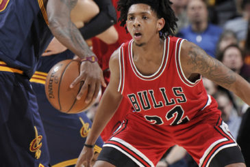 CLEVELAND, OH - FEBRUARY 25: Cameron Payne #22 of the Chicago Bulls blocks the shot against the Cleveland Cavaliers during the game on February 25, 2017 at Quicken Loans Arena in Cleveland, Ohio. NOTE TO USER: User expressly acknowledges and agrees that, by downloading and/or using this Photograph, user is consenting to the terms and conditions of the Getty Images License Agreement. Mandatory Copyright Notice: Copyright 2017 NBAE  (Photo by David Liam Kyle/NBAE via Getty Images)