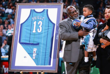 CHARLOTTE, NC - FEBRUARY 9:  A ceremony retiring the jersey of Bobby Phills of the Charlotte Hornets during the game against the Cleveland Cavaliers on February 9, 2000 at Charlotte Coliseum in Charlotte, North Carolina. Bobby Phills was killed in an automobile accident on January 12, 2000. (Photo by Sporting News via Getty Images)