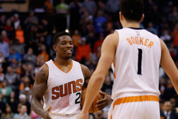 PHOENIX, AZ - DECEMBER 09:  Eric Bledsoe #2 of the Phoenix Suns celebrates with Devin Booker #1 during the final moments of the NBA game against the Orlando Magic at Talking Stick Resort Arena on December 9, 2015 in Phoenix, Arizona.  The Suns defeated the Magic 107-104. NOTE TO USER: User expressly acknowledges and agrees that, by downloading and or using this photograph, User is consenting to the terms and conditions of the Getty Images License Agreement.  (Photo by Christian Petersen/Getty Images)