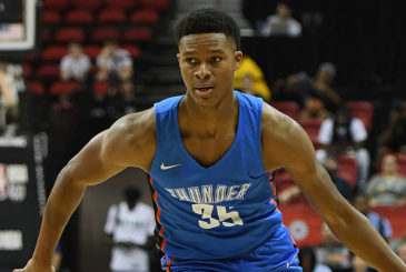 LAS VEGAS, NV - JULY 06:  PJ Dozier #35 of the Oklahoma City Thunder brings the ball up the court against the Charlotte Hornets during the 2018 NBA Summer League at the Thomas & Mack Center on July 6, 2018 in Las Vegas, Nevada. The Hornets defeated the Thunder 88-87. NOTE TO USER: User expressly acknowledges and agrees that, by downloading and or using this photograph, User is consenting to the terms and conditions of the Getty Images License Agreement.  (Photo by Ethan Miller/Getty Images)