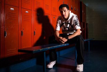 Tremont Waters, one of the top high school point guards in the nation, sits inside of the locker room of the Farnam Center in New Haven, Connecticut, where he first started to play organized basketball. Photo by Anthony Geathers for The Undefeated.