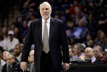 FILE - This is a March 8, 2015, file photo showing San Antonio Spurs head coach Gregg Popovich watching play during the first half of an NBA basketball game against the Chicago Bulls in San Antonio. Popovich, who has led the San Antonio Spurs to five NBA titles, will replace Mike Krzyzewski as the U.S. basketball coach following the 2016 Olympics.  (AP Photo/Darren Abate, File)