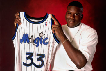 1991:  Shaquille O'Neal poses for a portrait with his #33 Magic jersey after being drafted by the Orlando Magic with the first overall pick of the 1991 NBA Draft in 1991.  NOTE TO USER:  User expressly acknowledges and agrees that, by downloading and/or using this Photograph, user is consenting to the terms and conditions of the Getty Images License Agreement.  Mandatory Copyright Notice: Copyright 1991 NBAE (Photo by Nathaniel S. Butler/NBAE via Getty Images) *** Local Caption *** Shaquille O'Neal