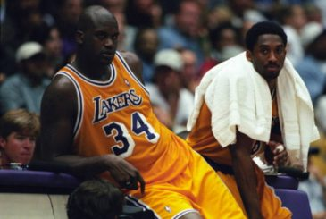 Shaquille O'Neal and Kobe Bryant of the Los Angeles Lakers during a National Basketball Association game at the Great Western Forum in Los Angeles, CA.