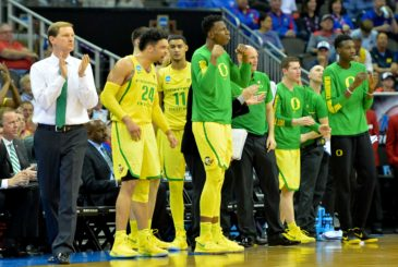 Mar 23, 2017; Kansas City, MO, USA; Oregon Ducks head coach Dana Altman reacts during the second half against the Michigan Wolverines in the semifinals of the midwest Regional of the 2017 NCAA Tournament at Sprint Center. Mandatory Credit: Denny Medley-USA TODAY Sports