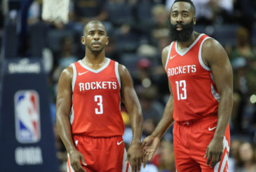 Oct 11, 2017; Memphis, TN, USA; Houston Rockets guard Chris Paul (3) and James Harden (13) during the first half against the Memphis Grizzlies at FedExForum. Mandatory Credit: Nelson Chenault-USA TODAY Sports