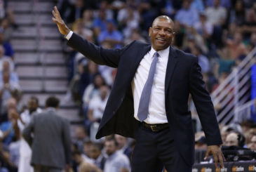 Apr 8, 2016; Salt Lake City, UT, USA; Los Angeles Clippers head coach Doc Rivers reacts during the fourth quarter against the Utah Jazz at Vivint Smart Home Arena. The Los Angeles Clippers defeated the Utah Jazz 102-99 in overtime. Mandatory Credit: Jeff Swinger-USA TODAY Sports