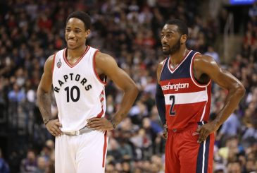 Dec 30, 2015; Toronto, Ontario, CAN; Toronto Raptors guard DeMar DeRozan (10) standing next to Washington Wizards point guard John Wall (2) at Air Canada Centre. The Raptors beat the Wizards 94-91. Mandatory Credit: Tom Szczerbowski-USA TODAY Sports