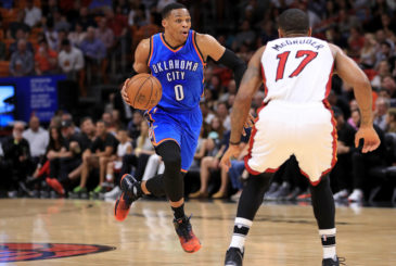 MIAMI, FL - DECEMBER 27:  Russell Westbrook #0 of the Oklahoma City Thunder drives to the basket during a game against the Miami Heat at American Airlines Arena on December 27, 2016 in Miami, Florida. NOTE TO USER: User expressly acknowledges and agrees that, by downloading and or using this photograph, User is consenting to the terms and conditions of the Getty Images License Agreement.  (Photo by Mike Ehrmann/Getty Images)