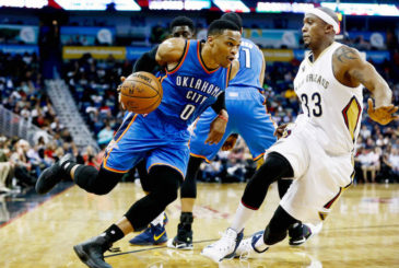 Jan 25, 2017; New Orleans, LA, USA; Oklahoma City Thunder guard Russell Westbrook (0) drives past New Orleans Pelicans forward Dante Cunningham (33) during the first quarter at the Smoothie King Center. Mandatory Credit: Derick E. Hingle-USA TODAY Sports