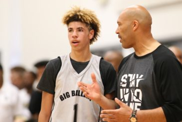 5/27/17 2:57:53 PM -- Orange, CA, U.S.A  -- LaVar Ball coaches his son LaMelo and the Big Ballers vs. Compton Magic Elite in the 17-and-under Magic Memorial Day Festival in Orange. CA. --    Photo by Dan MacMedan, USA TODAY contract photographer  ORG XMIT:  DM 136326 LaVar Ball 5/27/2017 [Via MerlinFTP Drop]