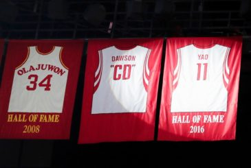 HOUSTON, TX - FEBRUARY 03:  The retired jersey of Yao Ming is revealed during halftime of the game between the Houston Rockets and the Chicago Bulls at Toyota Center on February 3, 2017 in Houston, Texas. NOTE TO USER: User expressly acknowledges and agrees that, by downloading and or using this photograph, User is consenting to the terms and conditions of the Getty Images License Agreement.  (Photo by Tim Warner/Getty Images)